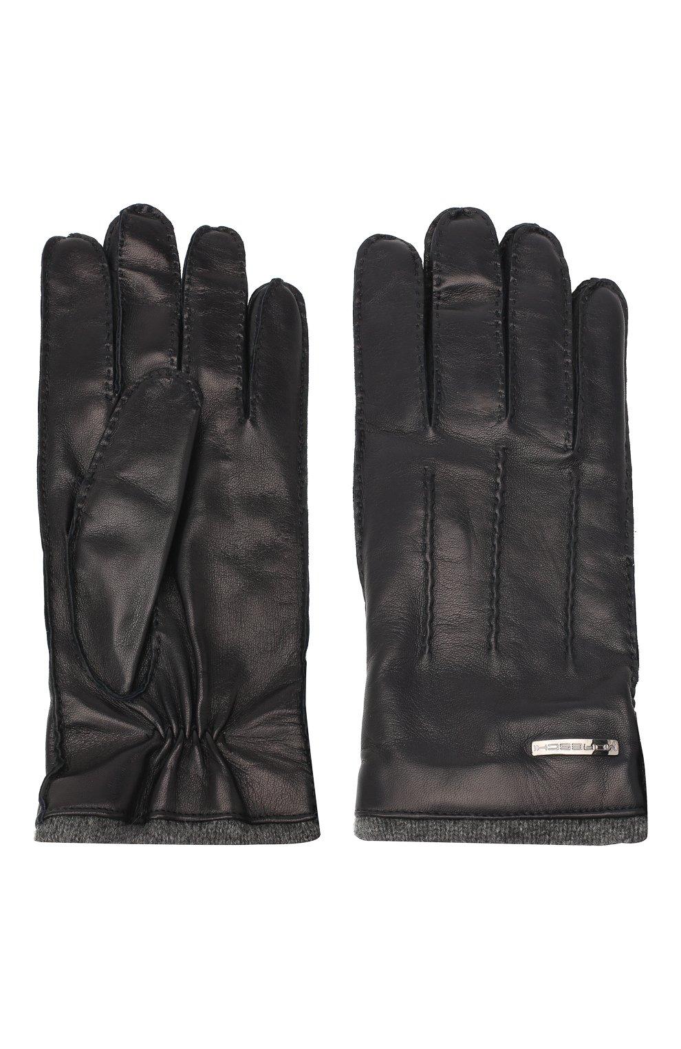Мужские кожаные перчатки MORESCHI темно-синего цвета, арт. 055U/NAPPA   Фото 2