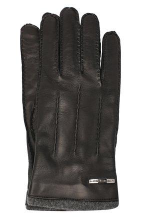 Мужские кожаные перчатки MORESCHI черного цвета, арт. 055U/NAPPA | Фото 1