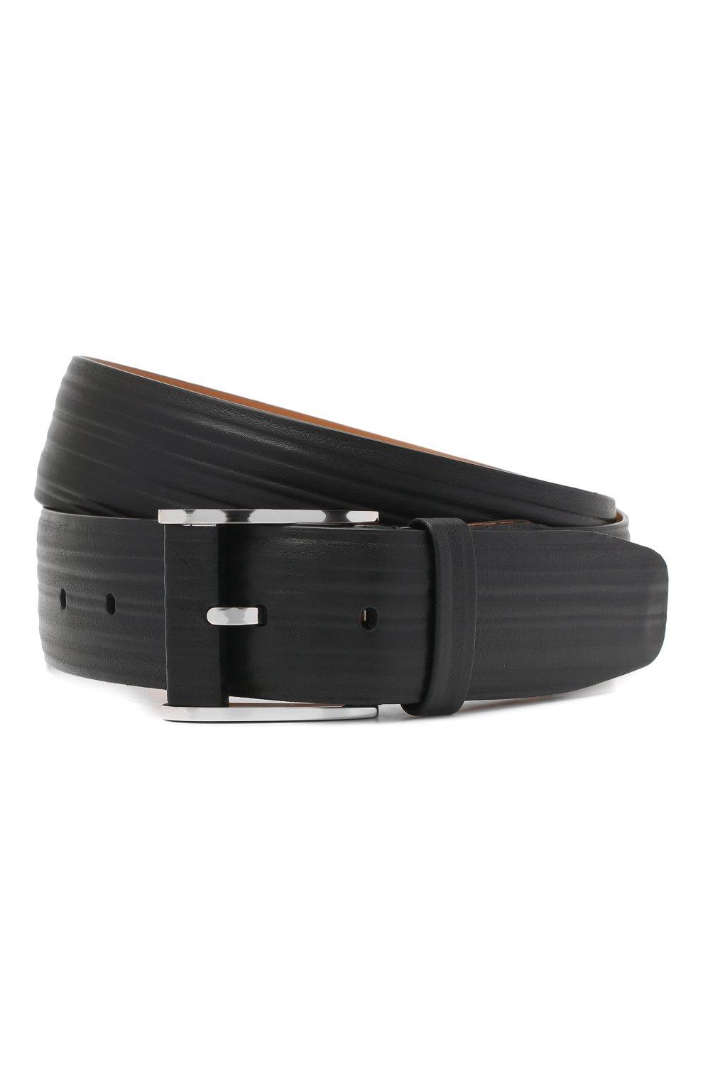 Мужской кожаный ремень ZILLI черного цвета, арт. MJL-CLAQE-01979/0232 | Фото 1
