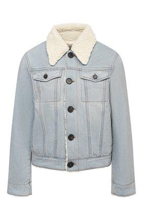 Женская джинсовая куртка VICTORIA, VICTORIA BECKHAM голубого цвета, арт. 2420DJK002099A   Фото 1