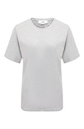 Женская хлопковая футболка VICTORIA, VICTORIA BECKHAM серого цвета, арт. 2420JTS001996A | Фото 1