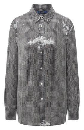 Женская рубашка с пайетками POLO RALPH LAUREN серого цвета, арт. 211815385   Фото 1