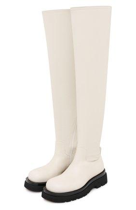Женские кожаные ботфорты bv lug BOTTEGA VENETA кремвого цвета, арт. 630302/VBP71 | Фото 1