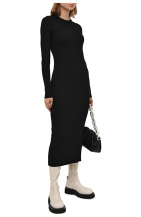 Женские кожаные ботфорты bv lug BOTTEGA VENETA кремвого цвета, арт. 630302/VBP71 | Фото 2
