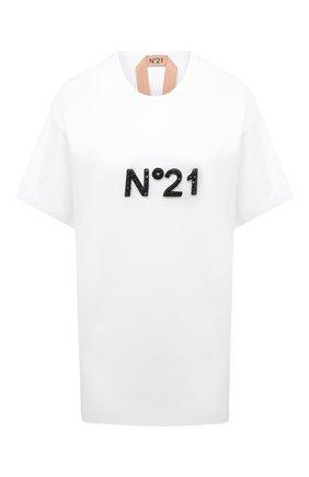 Женская хлопковая футболка N21 белого цвета, арт. 20I N2M0/F061/6314   Фото 1