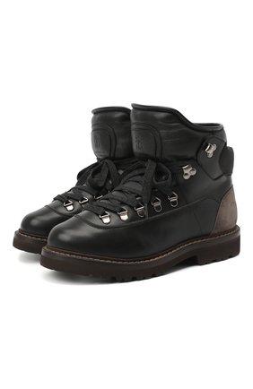 Женские кожаные ботинки 1927 BRUNELLO CUCINELLI черного цвета, арт. MZBSG1927 | Фото 1 (Материал внутренний: Натуральная кожа; Каблук высота: Низкий; Подошва: Платформа; Женское Кросс-КТ: Хайкеры-ботинки)