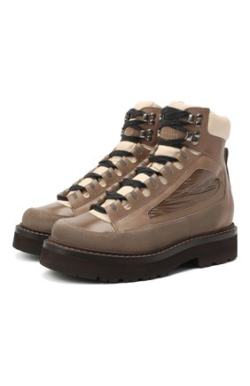 Женские комбинированные ботинки 1964 BRUNELLO CUCINELLI коричневого цвета, арт. MZSFG1964 | Фото 1