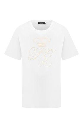Женская хлопковая футболка DOLCE & GABBANA белого цвета, арт. F8M66Z/G7XQL | Фото 1