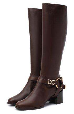 Женские кожаные сапоги DOLCE & GABBANA коричневого цвета, арт. CU0680/AW673   Фото 1
