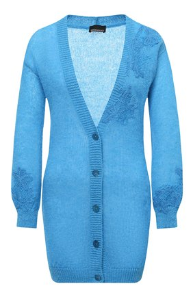 Женский шерстяной кардиган ERMANNO ERMANNO SCERVINO голубого цвета, арт. 47T MG57 QUE | Фото 1