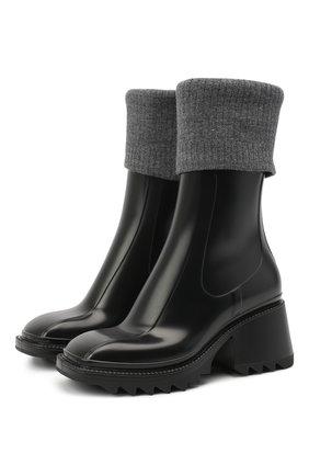 Женские резиновые ботинки betty CHLOÉ черного цвета, арт. CHC20W397N5   Фото 1
