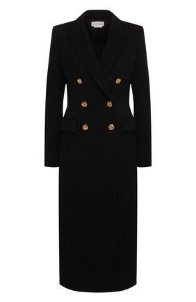 Женское шерстяное пальто ALEXANDER MCQUEEN черного цвета, арт. 636714/QKAAC   Фото 1