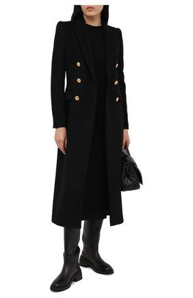 Женское шерстяное пальто ALEXANDER MCQUEEN черного цвета, арт. 636714/QKAAC   Фото 2