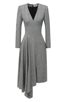 Женское шерстяное платье ALEXANDER MCQUEEN серого цвета, арт. 626221/QJABH   Фото 1