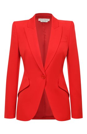 Женский шерстяной жакет ALEXANDER MCQUEEN красного цвета, арт. 585442/QJAAC | Фото 1