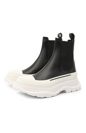 Женские кожаные ботинки tread slick ALEXANDER MCQUEEN черно-белого цвета, арт. 635714/WHZ61 | Фото 1