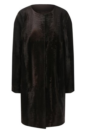 Женская шуба из меха каракуля YVES SALOMON коричневого цвета, арт. 6WTM96195BREX   Фото 1