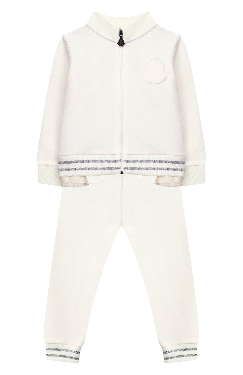 Детский комплект из толстовки и брюк MONCLER белого цвета, арт. F2-951-8M727-10-809EH | Фото 1