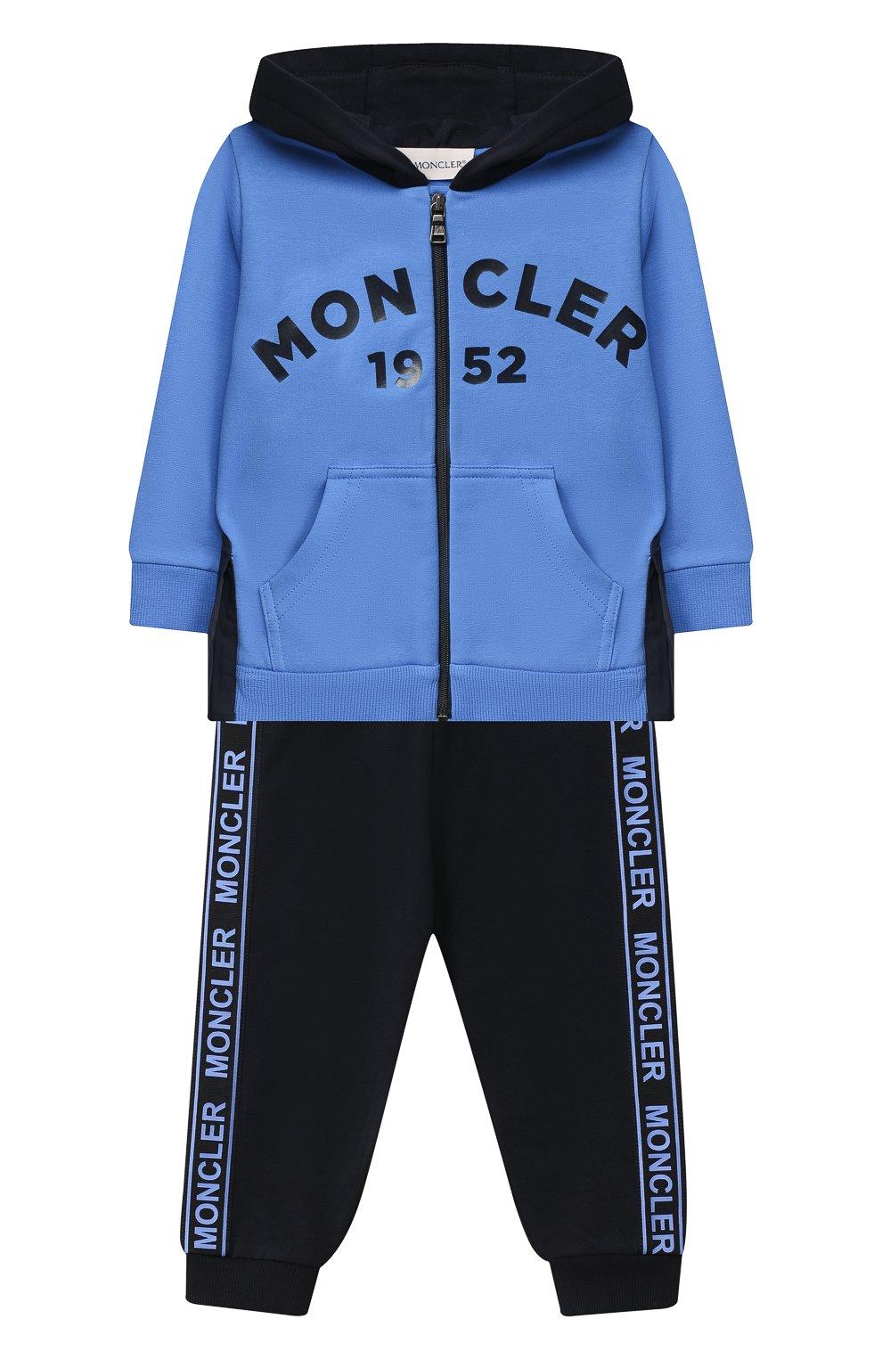 Детский комплект из толстовки и брюк MONCLER голубого цвета, арт. F2-951-8M730-20-80996   Фото 1