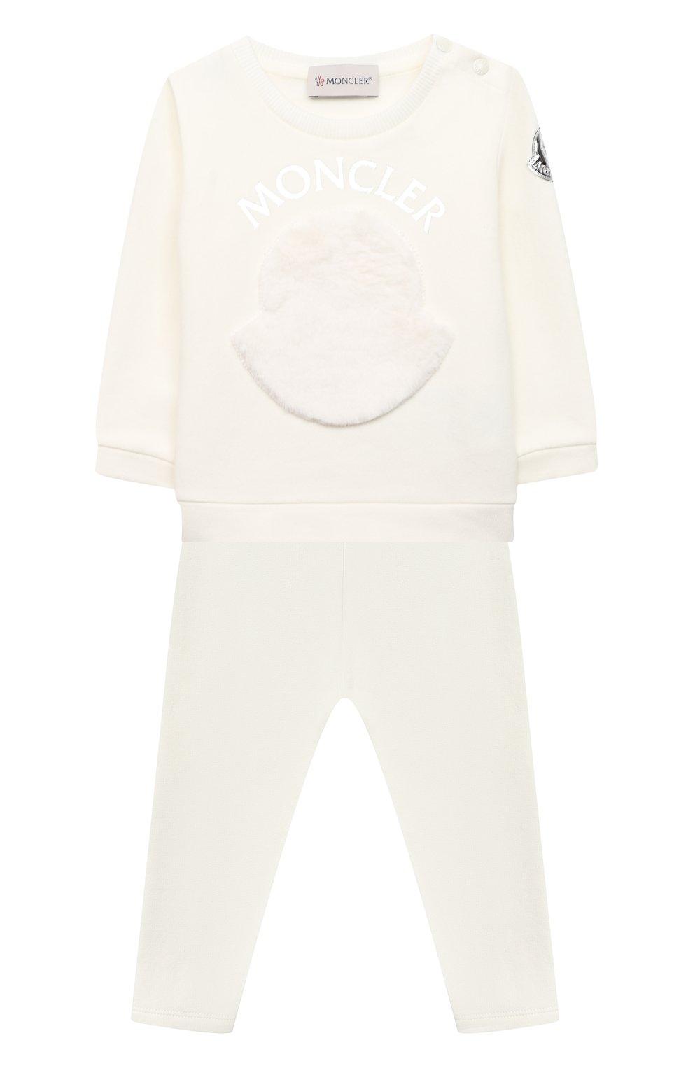 Детский комплект из свитшота и брюк MONCLER белого цвета, арт. F2-951-8M734-10-809EH   Фото 1
