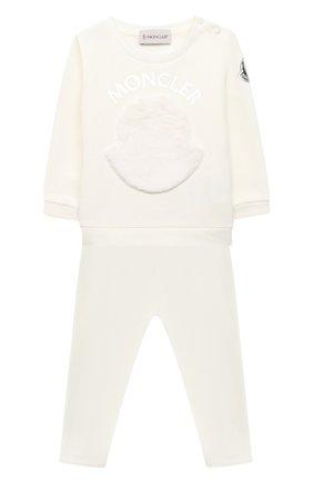 Детский комплект из свитшота и брюк MONCLER белого цвета, арт. F2-951-8M734-10-809EH | Фото 1