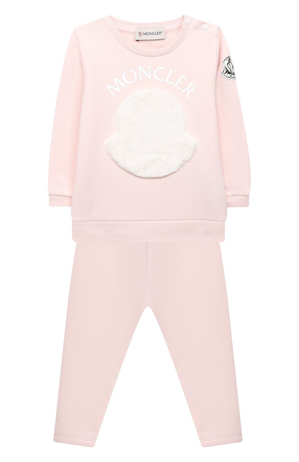 Детский комплект из свитшота и брюк MONCLER светло-розового цвета, арт. F2-951-8M734-10-809EH | Фото 1