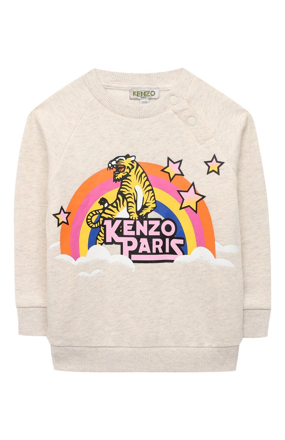Детский хлопковый свитшот KENZO светло-серого цвета, арт. KR15007 | Фото 1