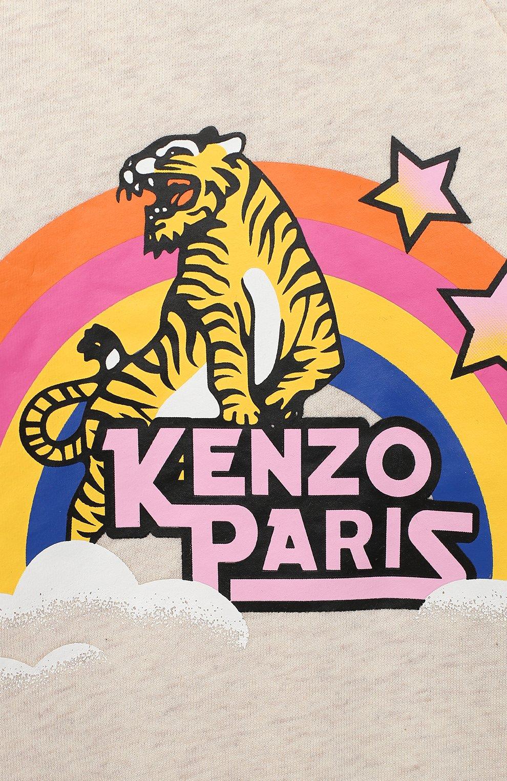 Детский хлопковый свитшот KENZO светло-серого цвета, арт. KR15007 | Фото 3