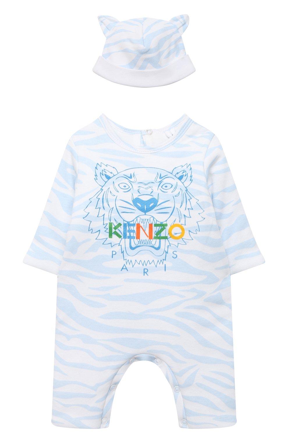 Детского хлопковый комбинезон с шапкой KENZO голубого цвета, арт. KR99533 | Фото 1