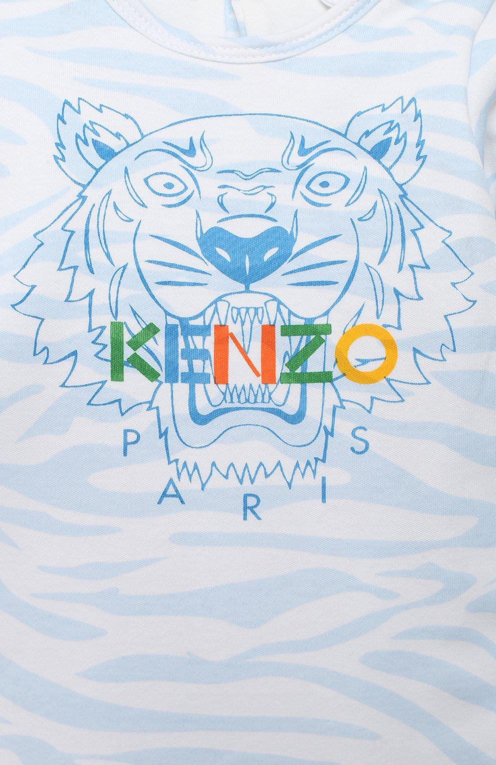 Детского хлопковый комбинезон с шапкой KENZO голубого цвета, арт. KR99533 | Фото 6