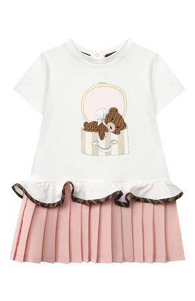 Женский хлопковое платье FENDI белого цвета, арт. BFB334/ADF2/12M-24M | Фото 1