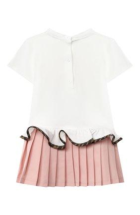 Женский хлопковое платье FENDI белого цвета, арт. BFB334/ADF2/12M-24M | Фото 2