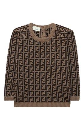 Детский хлопковый пуловер FENDI коричневого цвета, арт. BUG061/A3TE/3M-9M | Фото 1