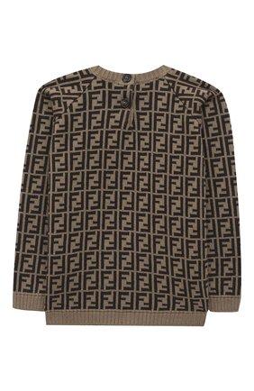 Детский хлопковый пуловер FENDI коричневого цвета, арт. BUG061/A3TE/3M-9M | Фото 2