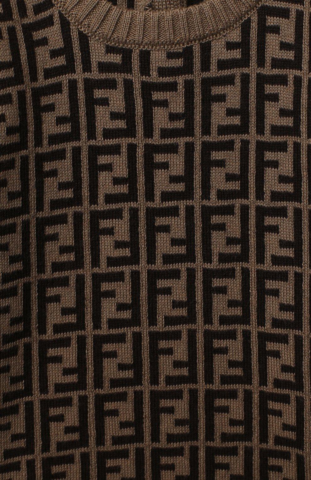 Детский хлопковый пуловер FENDI коричневого цвета, арт. BUG061/A3TE/3M-9M | Фото 3