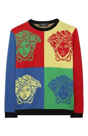 Детский хлопковый пуловер VERSACE разноцветного цвета, арт. YD000271/A236527/4A-6A | Фото 1
