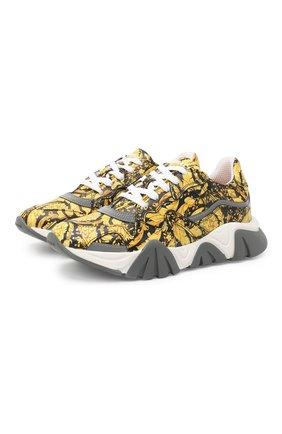 Детские кожаные кроссовки VERSACE золотого цвета, арт. YHX00029/YB00376/34-40 | Фото 1