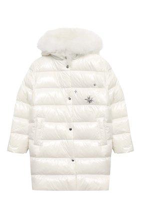 Детское пуховое пальто YVES SALOMON ENFANT белого цвета, арт. 21WEM011LGD0BR/12-14 | Фото 1