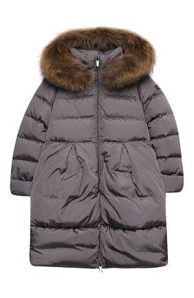 Детское пуховое пальто IL GUFO серого цвета, арт. A20GP260N0031/10A-12A | Фото 1