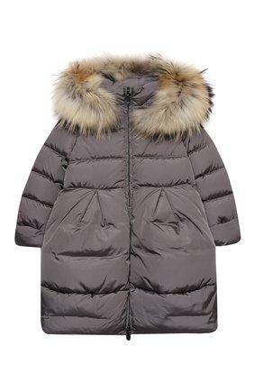 Детское пуховое пальто IL GUFO серого цвета, арт. A20GP260N0031/5A-8A | Фото 1