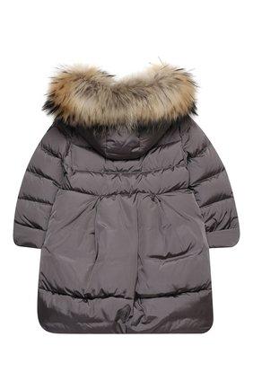 Детское пуховое пальто IL GUFO серого цвета, арт. A20GP260N0031/5A-8A | Фото 2