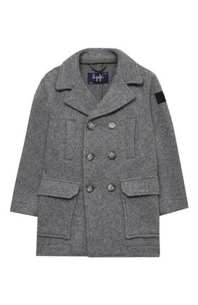 Детское пальто из хлопка и шерсти IL GUFO серого цвета, арт. A20GP268W0048/5A-8A | Фото 1