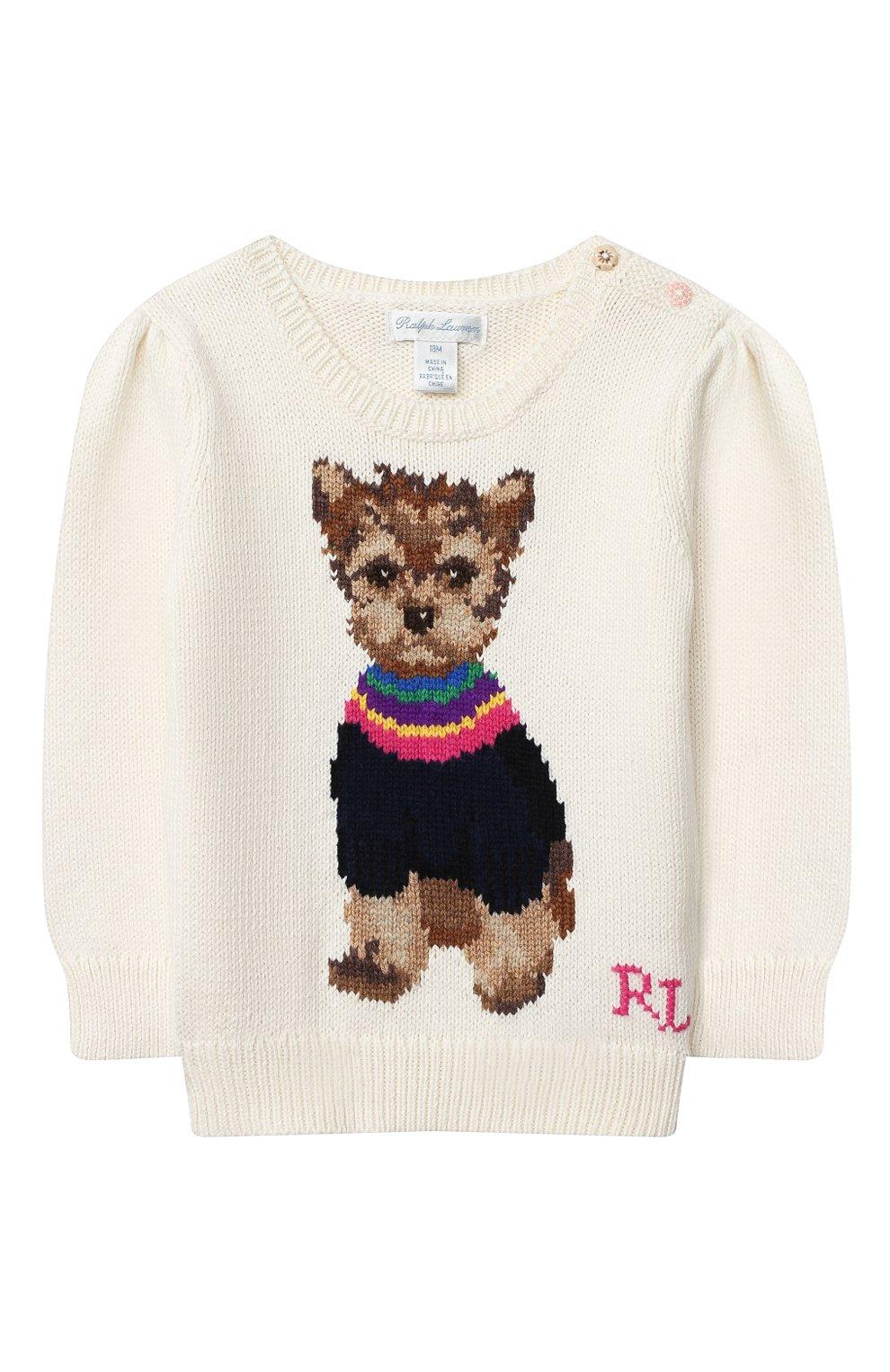 Детский хлопковый пуловер RALPH LAUREN белого цвета, арт. 310800176 | Фото 1