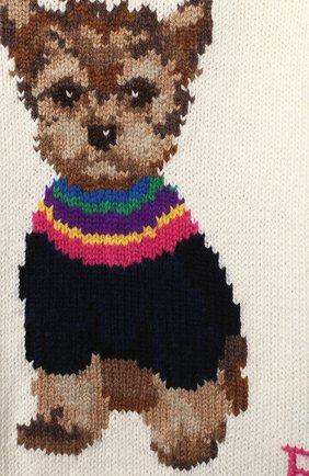 Детский хлопковый пуловер RALPH LAUREN белого цвета, арт. 310800176 | Фото 3