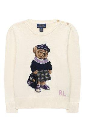 Детский хлопковый пуловер POLO RALPH LAUREN белого цвета, арт. 312799956 | Фото 1