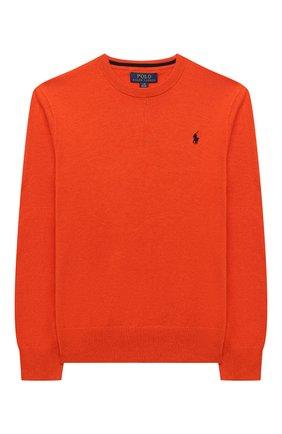 Детский хлопковый пуловер POLO RALPH LAUREN оранжевого цвета, арт. 323799887 | Фото 1