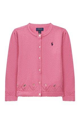 Детский хлопковый кардиган POLO RALPH LAUREN розового цвета, арт. 311799809   Фото 1