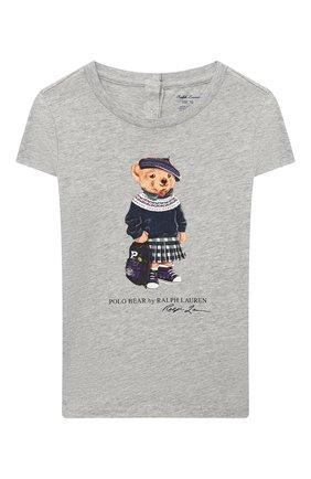 Детский хлопковая футболка RALPH LAUREN серого цвета, арт. 310802624 | Фото 1