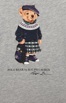 Детский хлопковая футболка RALPH LAUREN серого цвета, арт. 310802624 | Фото 3