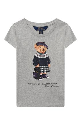 Детская хлопковая футболка POLO RALPH LAUREN серого цвета, арт. 311802624 | Фото 1